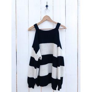 Anthropologie Moth Striped Cold Shoulder Sweater S